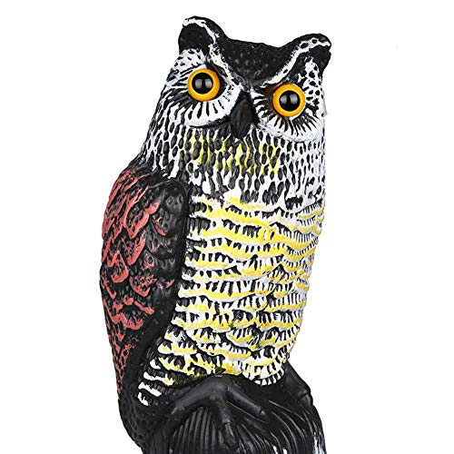 Viet SC Garden Statues & Sculptures - Plastic Simulation Animal Owls Head Shake Garden Decoration Scarecrow Garden Statues Lawn Park Stand Miniatures - by GTIN - 1 Pcs -