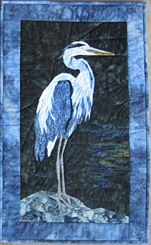Blue Heron - New Form of Foundation Paper Piecing (Picture Piecing) Pattern - 17 1/2