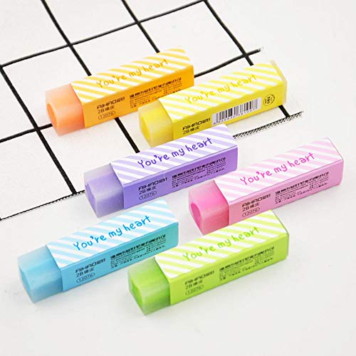24 pcs/Lot Cute star My heart color Eraser 2B pencil erasers Stationery Office supplies borradores de goma kawaii by PomPomHome (Image #1)