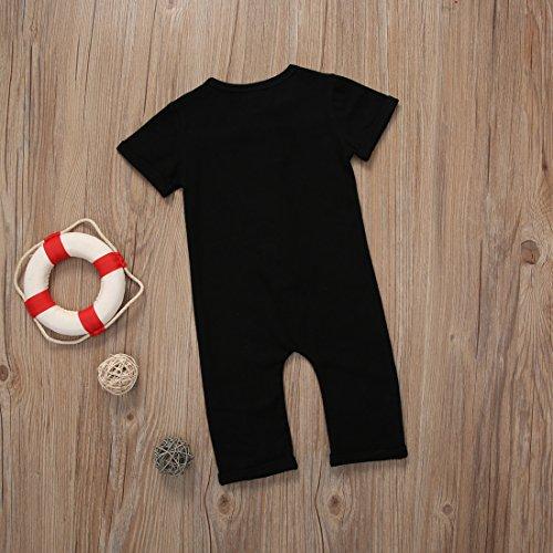 Infant Boys Black/Grey Button Up Romper Short Sleeve Basic Romper Coveralls (18-24M, Black)