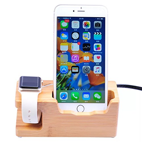 Apple Watch Stand,Phone Stand, Bamboo Charging Station, Multi Device Charging Station with Three USB Port, Wood Organizer Dock for iPhone Apple Watch Charger, Cradle for Most (Ats Watch)