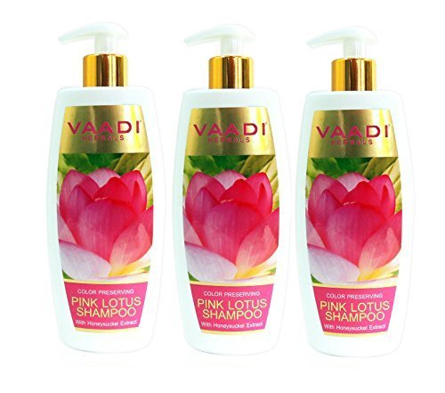 Lotus with Honeysuckle Extract Shampoo - ★ Color Preserving Shampoo - ★ ALL Natural Herbal Shampoo - ★ Paraben Free - ★ Sulfate Free - ★ Scalp Therapy - ★ Moisture Therapy - ★ Suitable for All Hair Types - ★ Value Pack of 3 X 11.8 Ounces - Vaadi Herbals
