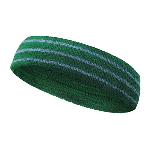 Striped Terry Headband - COUVER Tennis Style Premium Quality Athletic Terry Head sweatband(1 Piece)