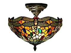 Tiffany's iconic dragonflies plus glass jewels in a kaleidoscope of colors equal blazing beauty in or Sonota semi flush mount fixture. 420 pieces of art glass form a burning background of red, orange and yellow. Green, blue, red, orange, and ...