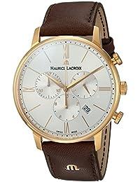 Men's 'Eliros' Swiss Quartz Gold-Tone and Leather Casual Watch, Color:Brown (Model: EL1098-PVP01-111-1)