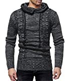 GRMO Men Hiphop Knitted Drawstring Hooded Slim Fit Pullover Sweater Black US L