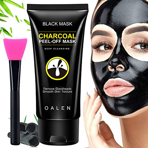 Blackhead Remover Mask,Blackhead Peel Off Mask,Bamboo Activated Charcoal Mask,Deep Cleansing Black Facial Mask with Brush 50 ml