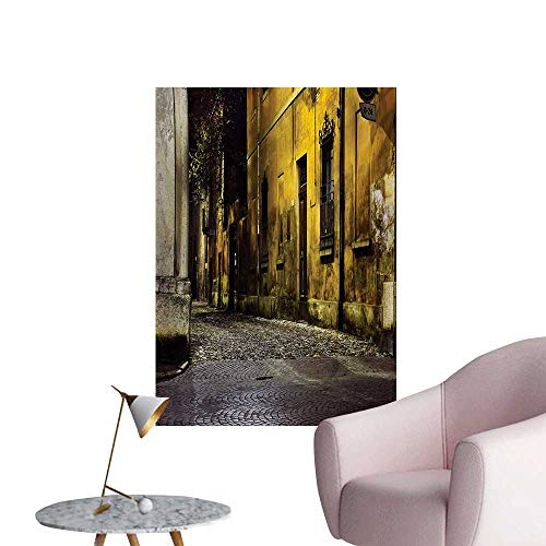 Street Wallpaper Old Ancient Empty Dark City Streets Avenues with Homes Photograph Civilization PrintMulticolor W32 xL36 Art Poster (Avenue Photograph)