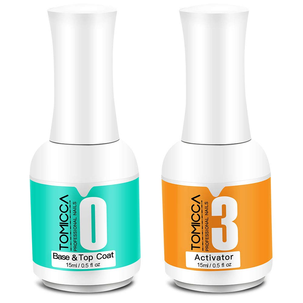 2 in 1 Dip Powder Top & Base Coat, Activator for Dipping Powder Nail Starter Kit, 0.5 oz/Bottle,Dry Fast Easy to Apply No Need UV/LED Cured by Tomicca