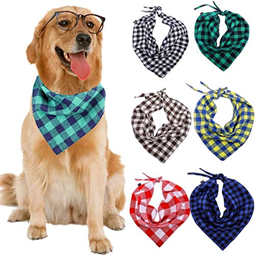 Sanlin Dog Bandana 6Pcs Double Padded Triangle Dog Bandana Set Classic Plaid Print Suitable Pets Scarf for Small to…