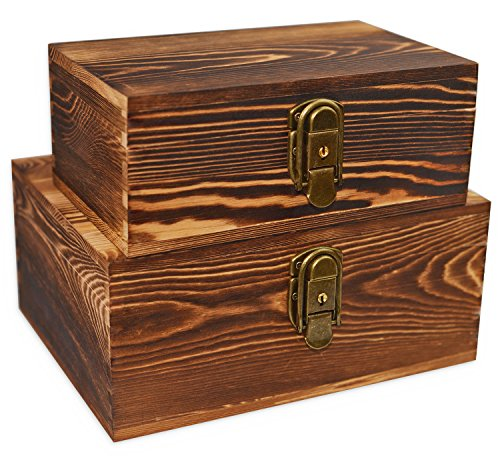 Secret Keepsake (Wooden Keepsake Boxes Wood Box for Jewelry Trinkets Hobby Cash Pill Nail Polish Birthday Gifts File Cards Photo Craft Storage Case Organizer Decorative with Lock Keys Hinged Lids Burned Color Set of 2)