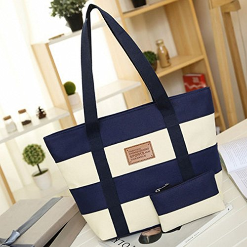 Women's Canvas Cotton Tote Bag Large Capacity Stripe Handbag Casual Shoulder Bag Shopping Bag with Small Purse for School Work Travel (Blue) by Gupiar (Image #1)