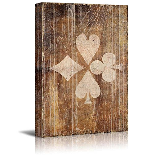 wall26 - Poker Cards Canvas Wall Art - Poker Pattern of Hearts Spades Clubs and Diamonds on Rustic Background - Gallery Wrap Modern Home Decor | Ready to Hang - - Diamonds Spades Clubs Hearts Poker