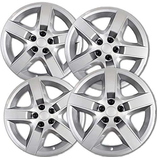 OxGord Hubcaps for 17 inch Standard Steel Wheels (Pack of 4) Wheel Covers - Snap On, Silver