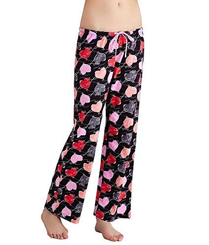 Hue Sleepwear Women's Love Connection Long PJ Pants-Plus Size, Black, 2XLarge