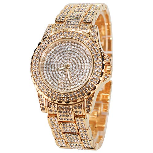 Smalody Round Luxury Women Watch Crystal Rhinestone Diamond Watches Stainless Steel Wristwatch Iced Out Watch with Japan Quartz Movement for Women | Simulated Lab Diamonds (Gold) from Smalody