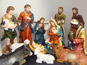 Amazon.com : Large 12-Piece Outdoor Christmas Nativity Set ... on Backyard Decorations Amazon id=93979