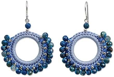 NOVICA Multi-Gem Agate Silver Plated Beaded Earrings 'Divinely Teal'