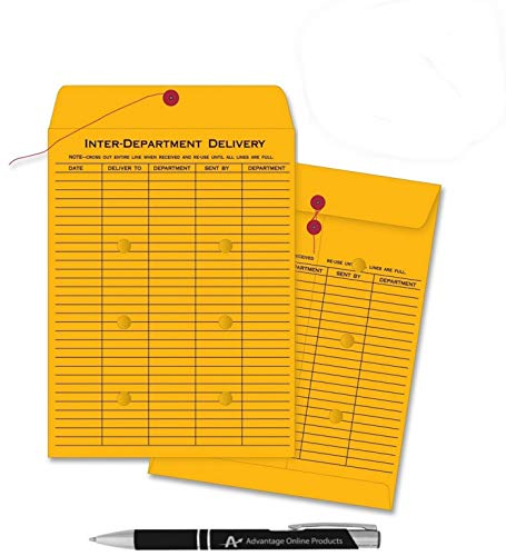 10 Pack Inter Office Inter-Departmental Envelopes with Free Custom AdvantageOP Black & Chrome Retractable Pen, Black Ink (10 x 13) ()