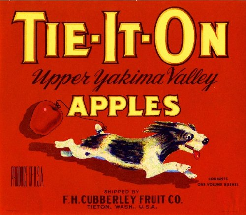 A SLICE IN TIME Tieton Washington State Tie-It-On Red Little Terrier Puppy Dog Apple Fruit Crate Label Art Print