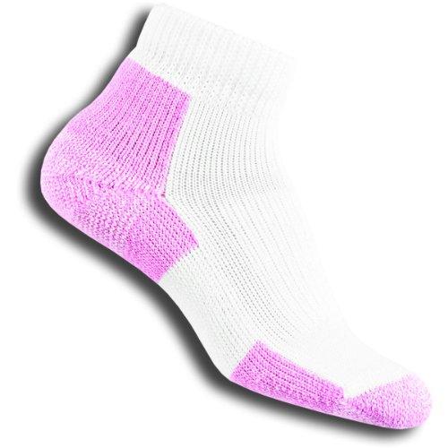 Thorlos Walking Heels (Thorlos Women's Distance Walking Mini Crew Single Pair White/Pink Large)