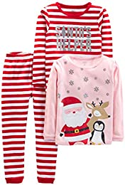 Baby  Little Kid  and Toddler Girls 3-Piece Snug-Fit Cotton Christmas Pajama Set