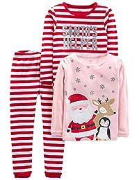 Simple Joys by Carter's Baby, Little Kid, and bebé Girls' - Juego de Pijama de Navidad (3 Piezas, algodón)