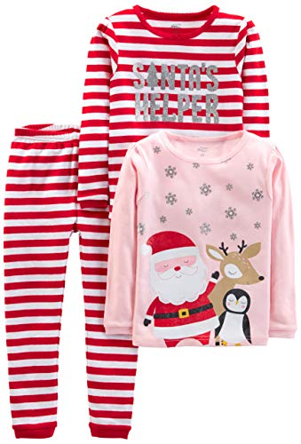 Simple Joys by Carter's Girls' Toddler 3-Piece Snug-Fit Cotton Christmas Pajama Set, Red Stripe/Santa, 2T