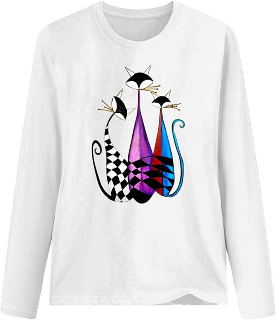 Moilant Womens Cute Cat Print T-Shirt Long Sleeve Casual Blouse Fashionable O-Neck Top Tunics
