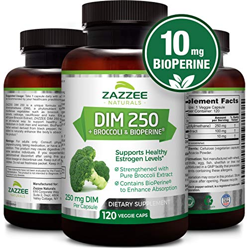 DIM 250 mg | 120 Veggie Caps | 10 mg BioPerine | 4 Month Supply | Plus Pure Broccoli Extract | Vegan and Non-GMO | 250 mg per Capsule | Extra Strength | Supports Healthy Estrogen Levels and Metabolism - Healthy Estrogen