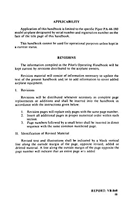 Piper PA-44-180 SEMINOLE Information Manual and Pilot's Operating Manual 1979 & 1980 Models [Loose Leaf]