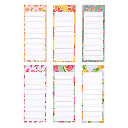 Notepads - Magnetic Memo Pads - for Shopping Lists, Notes, Reminders, and More - Colorful Fruit Designs - 6 Pack - 60 Sheets Each Pad - 3.5 x 9 Inches