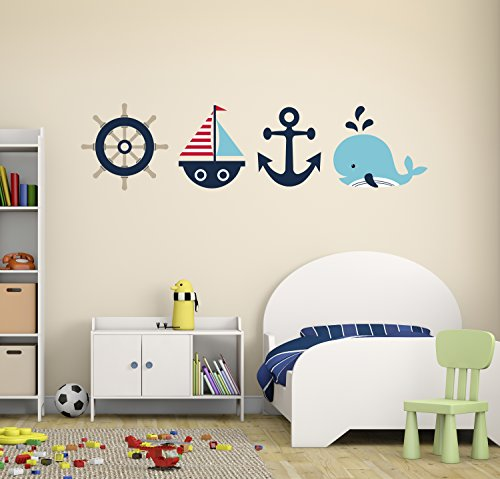 Whale Sailboat Anchor Wheel Wall Decal - Nautical Decor - Nursery Wall Decals - Nautical Set Wall Art Vinyl (Sailboat Wall Stickers)