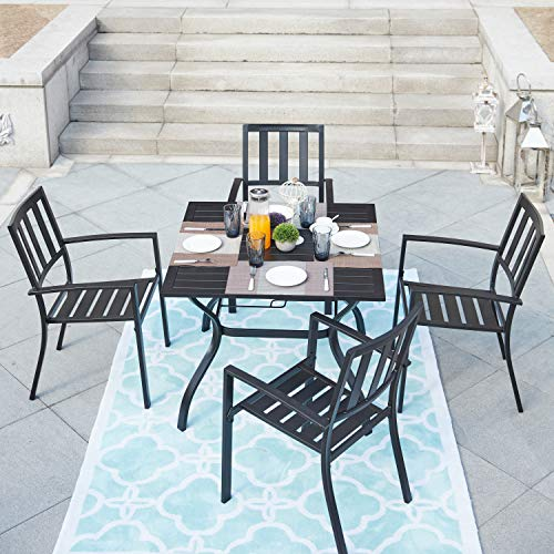 LOKATSE HOME 5-Piece Outdoor Patio Dinning Furniture Set Metal Arm Chairs and Square Table with Umbrella Hole