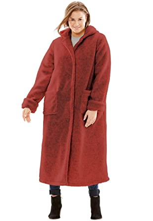 b6a70b4a94a Woman Within Plus Size Hooded Berber Fleece Duster Coat at Amazon Women s  Coats Shop