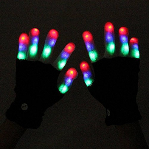 ZOCO 6 Mode Colorful LED Gloves Party Light Show Dancing Gloves ,Flashing Finger Lighting Gloves for Clubbing Rave Birthday Disco Dubstep Party Children Gift