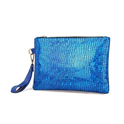 Women Ladies Handbag, Colorful Laser Discoloration Quality Clutch Purse Fashion Casual Handbag Wallet Card Package Shoulder Bag For Evening Dress Party Club Best Gift Blue