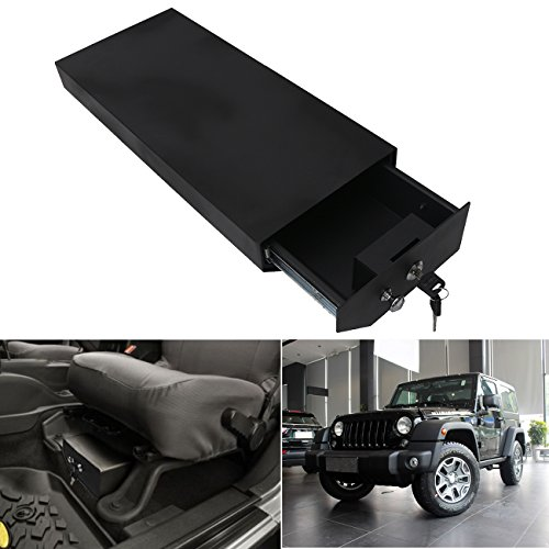 Drivers Side Lock Box (BuyInHouse Black under-seat Carbon Steel Locking Security Storage Box for Jeep Wrangler Left Hand Driver Side 2007-2016)