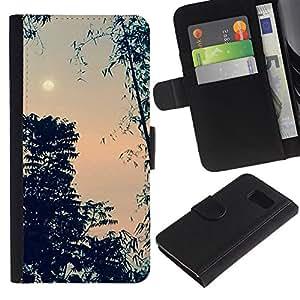 iBinBang / Flip Funda de Cuero Case Cover - Evening Sky Moon Trees Night - Samsung Galaxy S6 SM-G920