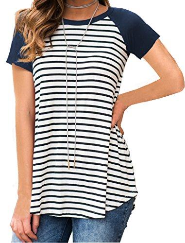 Halife Black and White Striped Raglan Long Shirts for Leggings for Women Navy Blue -