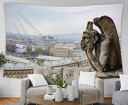 GROOTEY Tapestry Wall Hanging, Tapestry 60x50Inches Statue of The Monster on top Tower Cath drale Notre Dame in Paris Francethe was Meditating and Tapestries Wall Art for Home Bedroom Dorm Decoration