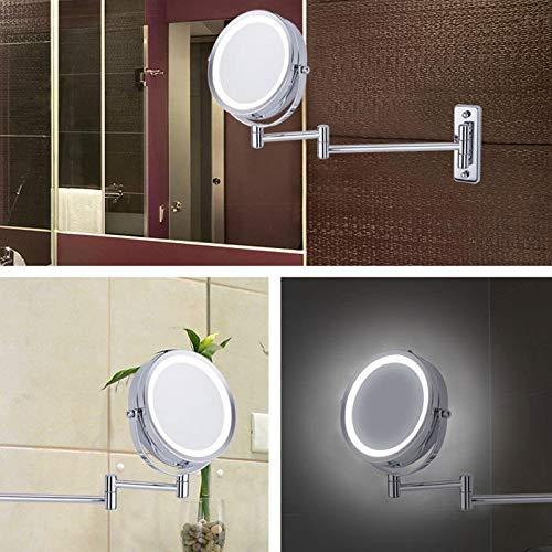 Mr.T HD Make-up-Spiegel-Licht 5-fache Vergr/ö/ßerung Beidseitige 8,5-Zoll-runder Rotating High-Definition Adjustable Beleuchtete Wand befestigter Spiegel