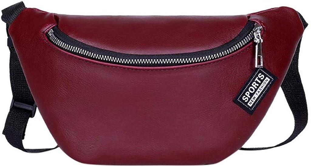 S&H-NEEDRA Sac Ceinture Mode Femmes Couleur Unie Zipper Messenger Sac Poitrine Sac Taille Sac Téléphone Sac à Main Bag 126