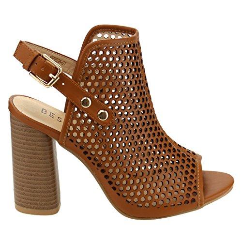 Beston FH21 Womens Slingback Peep Toe Bootie Sandals Tan qAiqr