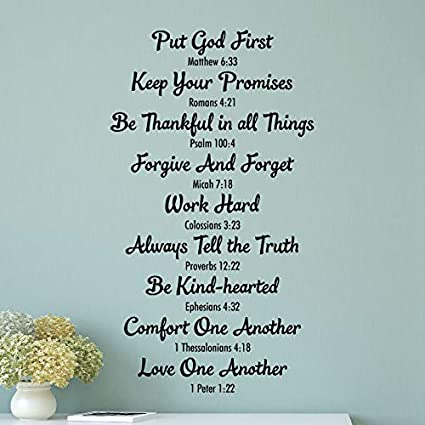 com wall quote decal bible family rules religious house
