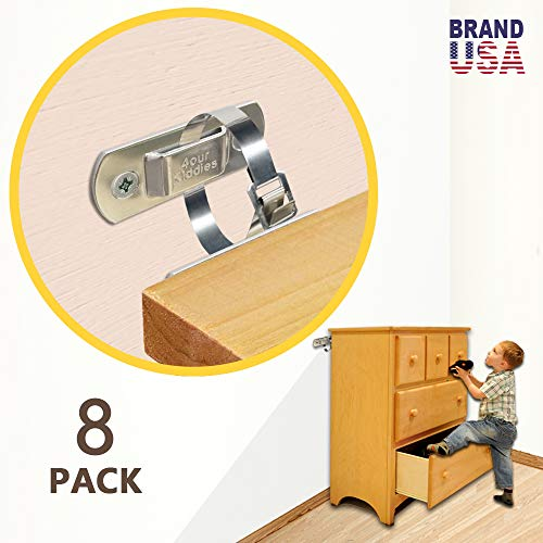 Metal Furniture Straps (8 Pack) Furniture Anchors Baby Proofing Wall Anchor Anti Tip Furniture Kit Wall Straps for Baby Safety, Adjustable Upgraded Stainless Steel Earthquake Resistant Wall Straps