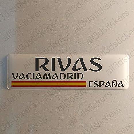Pegatina Rivas-Vaciamadrid España Resina, Pegatina Relieve 3D Bandera Rivas-Vaciamadrid España 120x30mm Adhesivo Vinilo: Amazon.es: Coche y moto