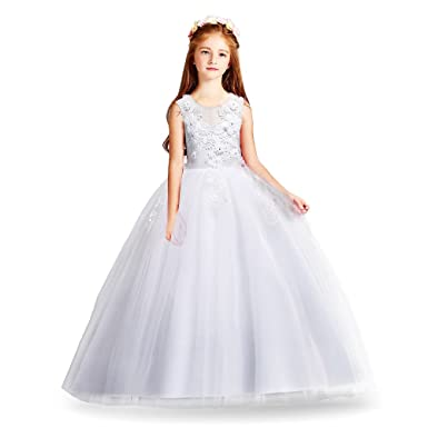 dd638a09fa1a4 HUAANIUE Cérémonie Robe de Soirée Princesse Classique Fille Mariage Robes  Demoiselle d Honneur Taille Motif