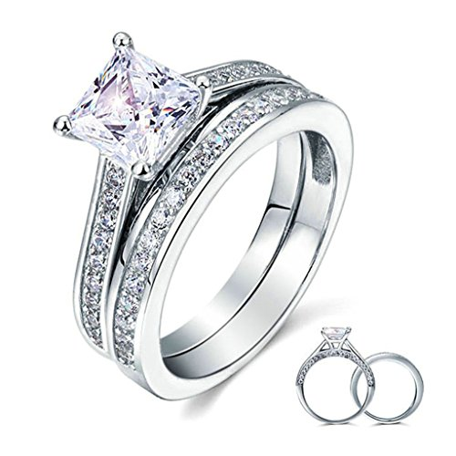 Daesar S925 Sterling Silver Womens Ring Princess Cut 4-Prong Channel Zirconia Ring Bridal Ring Set Size 5 by Daesar