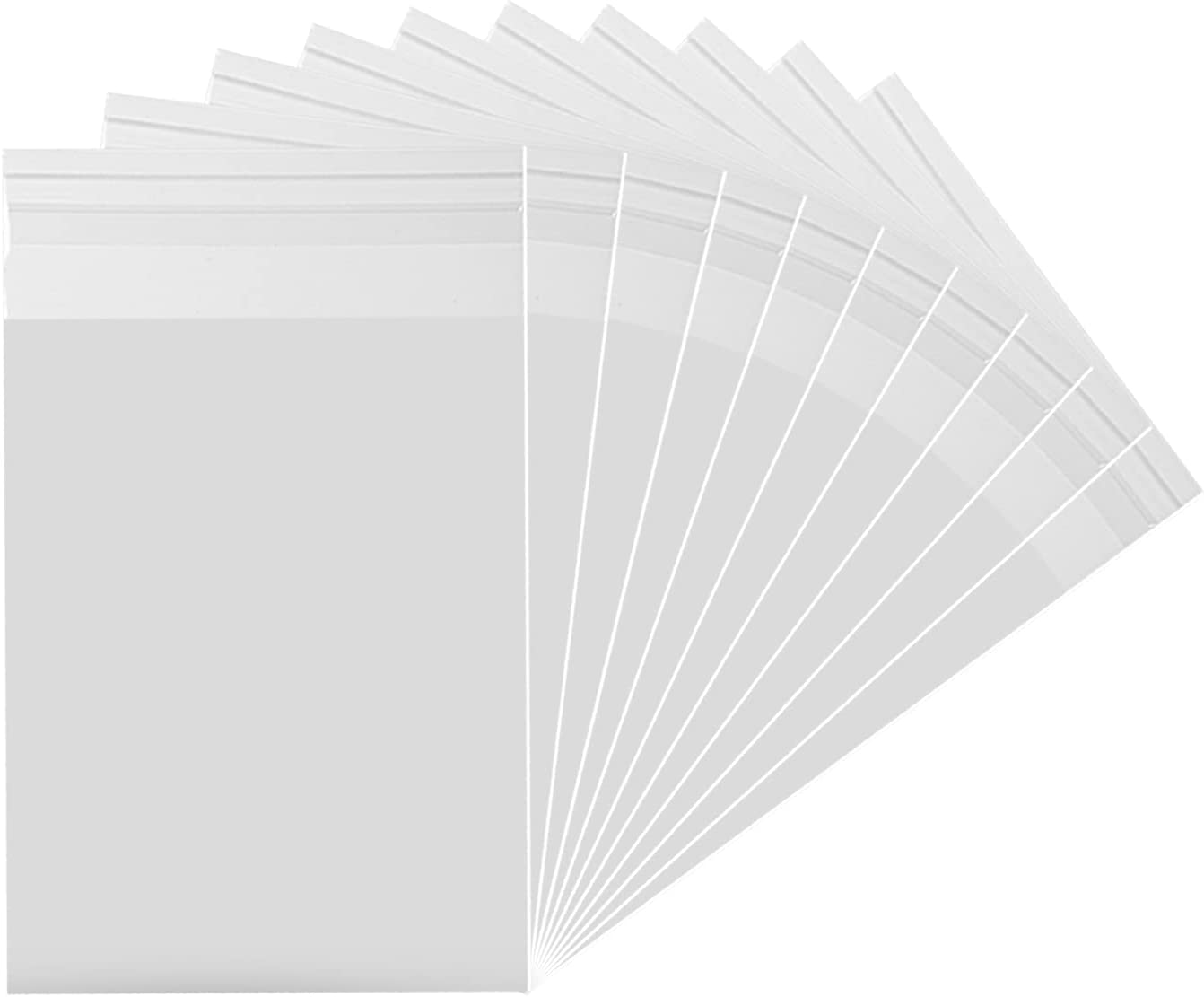 Crystal Clear Resealable Recloseable Cellophane/SelfSeal Bags for Bakery, Snacks, Candle, Soap, Cookie, Jewelry, Cards.(100 Pack) (5''X7'')…